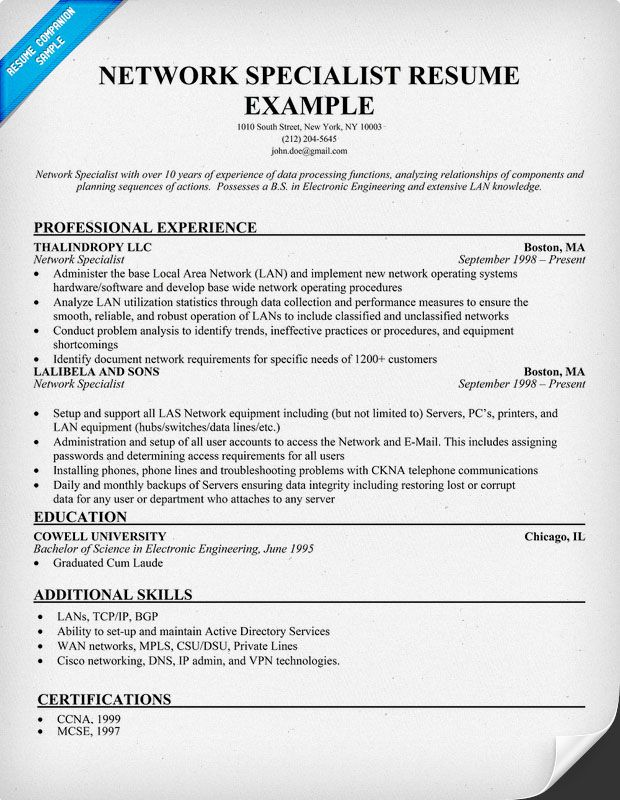 Network Specialist Resume Example ResumecompanionCom  Resume