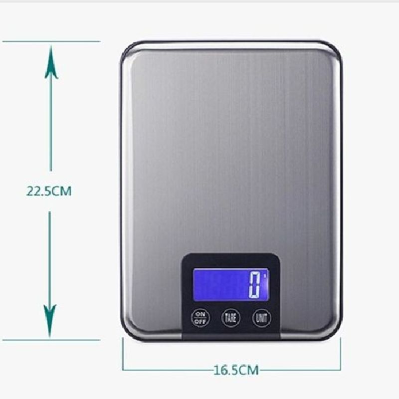 10kg Lcd Electronic Kitchen Scales 10kg 1g Slim Stainless Steel
