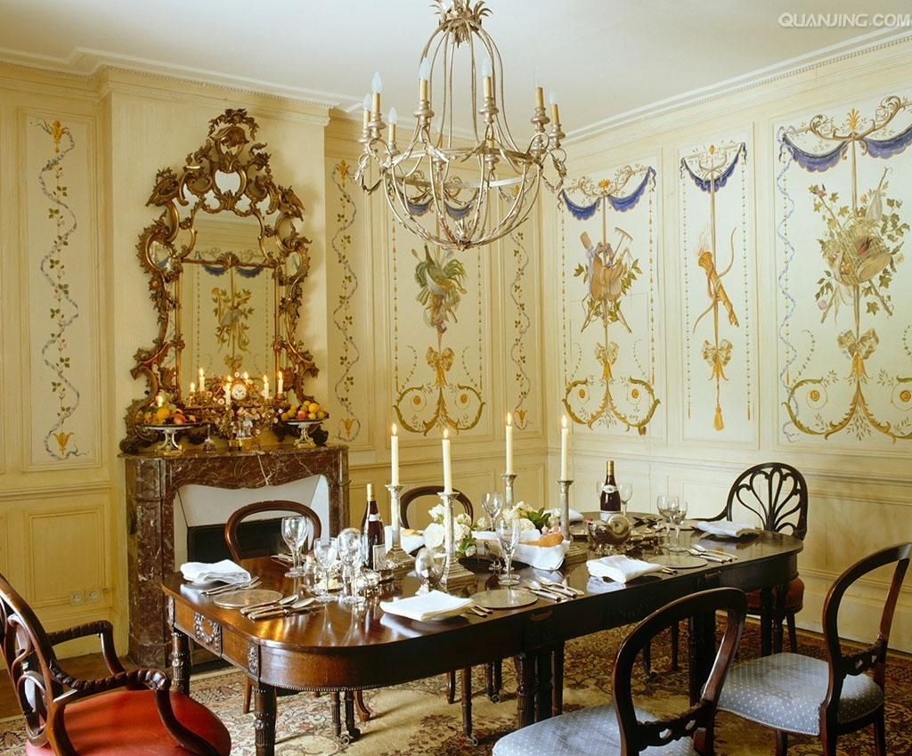 The dining room is decorated with wall panels and linen which were ...