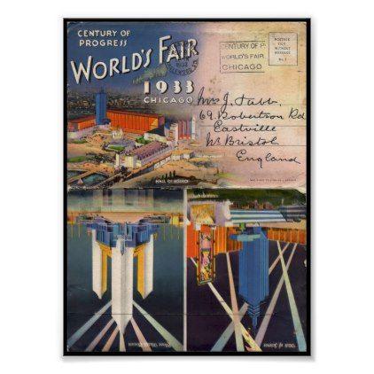 1933 Chicago Worlds Fair A century of progress Int Poster - decor diy cyo customize home