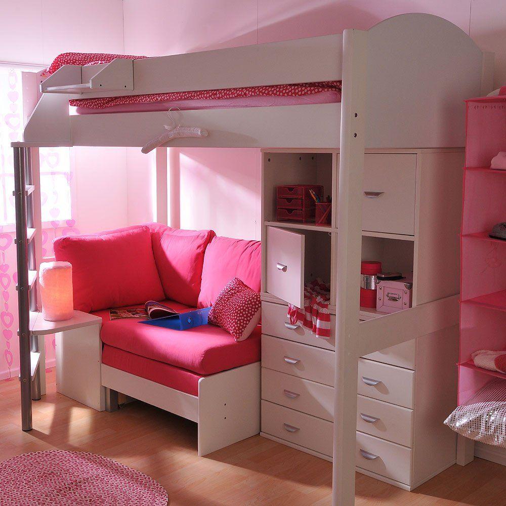 Enjoyable Stompa Casa 6 White High Sleeper With Sofa Bed Drawers Inzonedesignstudio Interior Chair Design Inzonedesignstudiocom