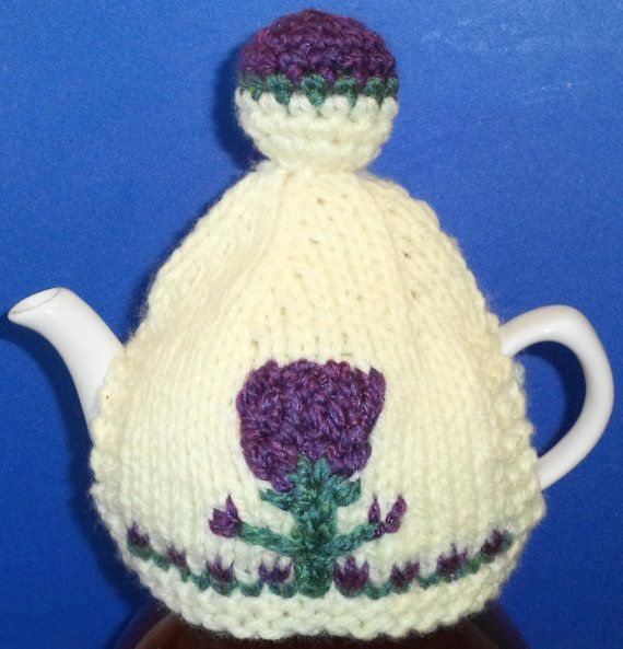 Scottish thistles  hand knitted crocheted and by peerietreisures