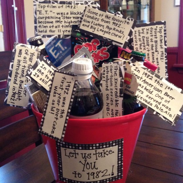 1982 Themed Basket For My Friends 30th Birthday Presentitems From And Facts About Each One