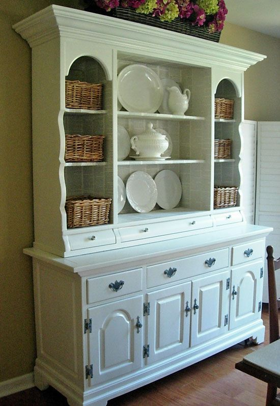 Diy refurb an old china cabinet with fresh paint and line for Painted dining room hutch ideas