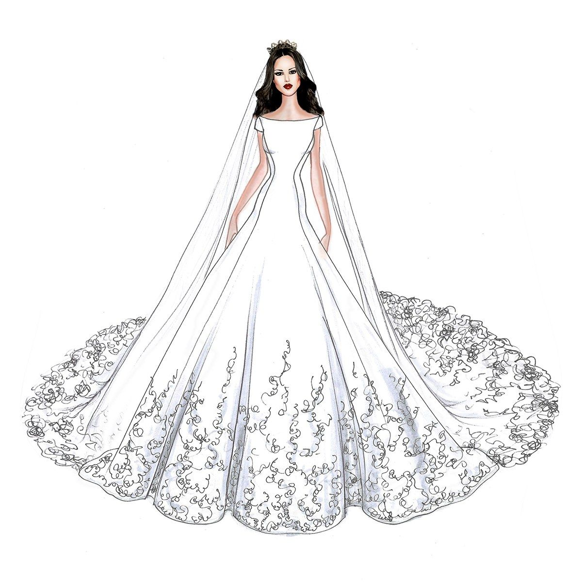 Meghan Markle S Wedding Dress Will Look Like This According To These Desig Wedding Dress Drawings Fashion Illustration Sketches Dresses Wedding Dress Sketches