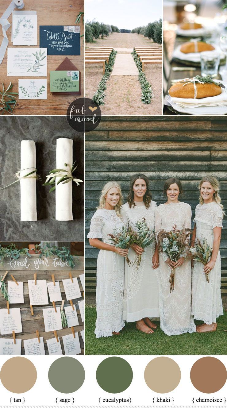 Rustic organic wedding color palette { Muted Earth Tones ...