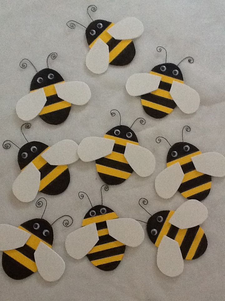 d6ff63da349 Bumble bee shower  Made these bees from yellow and white craft foam.  Stripes were drawn on with a sharpie pen. Google eyes and craft wire finish  them.