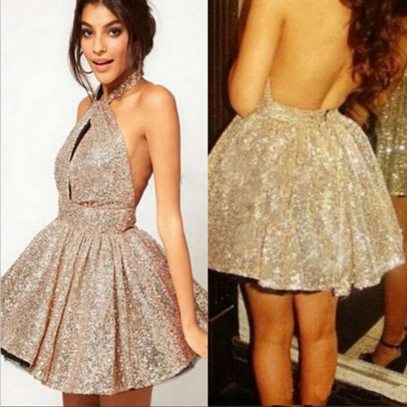 Free Shipping  Buy Best CYF133 Sexy Backless Gold Short Mini Prom ... 174fb2a2bc8f