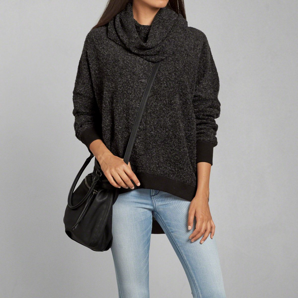 fbfb62e834 Womens Textured Cowl Neck Sweatshirt