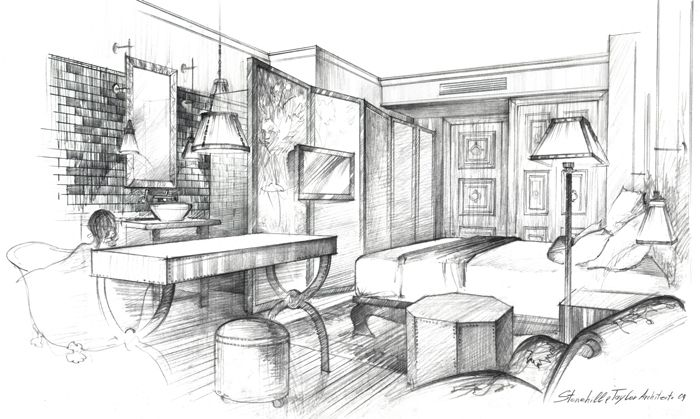 Architectural Freehand Drawing Interior Sketch The Nomad Hotel