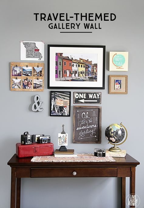 What A Great Way To Display Your Travel Experiences A Travel Themed Gallery Wall With A Diy Instagra Travel Wall Decor Travel Room Decor Travel Themed Room