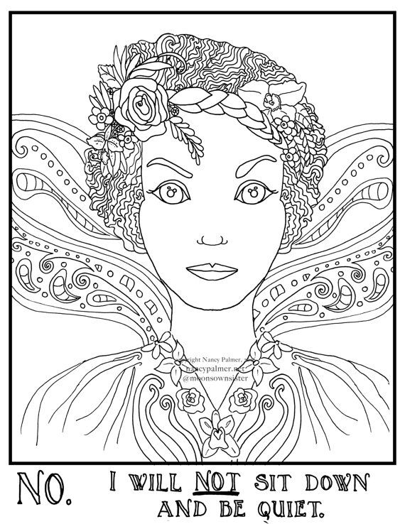 No I Will Not Sit Down Fairy Adult Coloring Page Digital Download