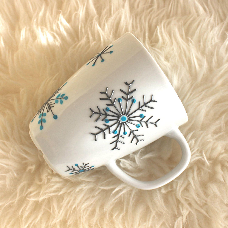 smart idea porcelain coffee mugs. Hand Painted Porcelain Mug  Snowflake Design Tea Coffee Gift Idea for
