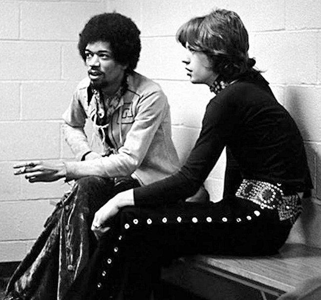 Jimi Hendrix with Mick Jagger