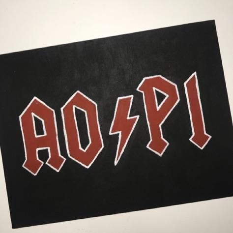 AOII - alpha omicron pi - AC/DC font - AO/PI - big little reveal - crafting - diy - canvas #biglittlecanvas