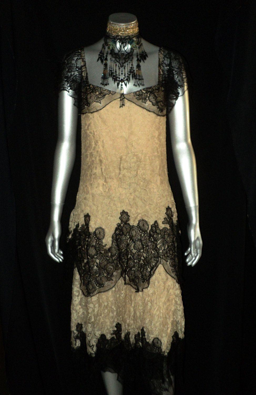20er Jahre Art Deco Seide Lace Flapper Kleid Gatsby von Bellasoiree ...