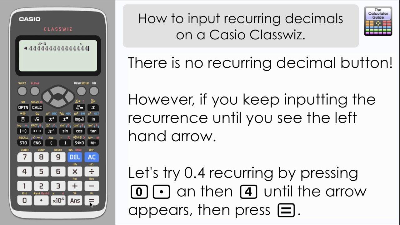How to input recurring decimals on casio classwiz repeating how to input recurring decimals on casio classwiz repeating decimals biocorpaavc Choice Image