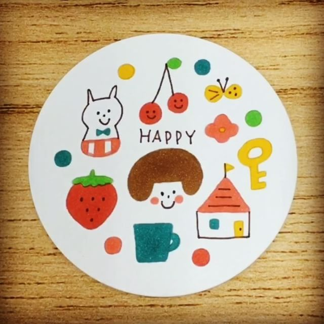 コースターカードセット Happy Mizutamaさんのイラストガイド入り
