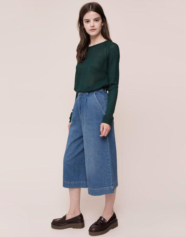 Pull&Bear - donna - jeans - pantaloni culotte jeans - azzurro - 09684329-I2015