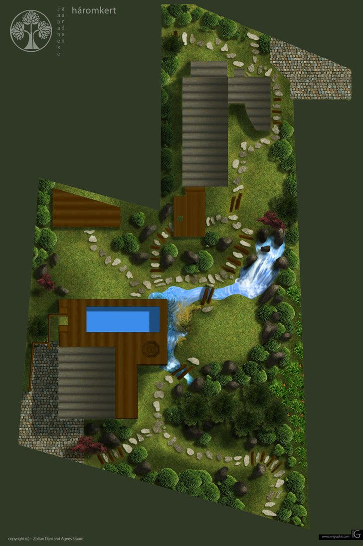 Japanese garden design layout plan in 3D graphics. by