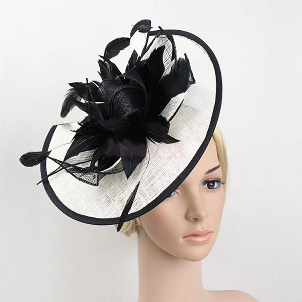 Wedding Fascinators Black And White Sinamay Hat Feather Flower Hair