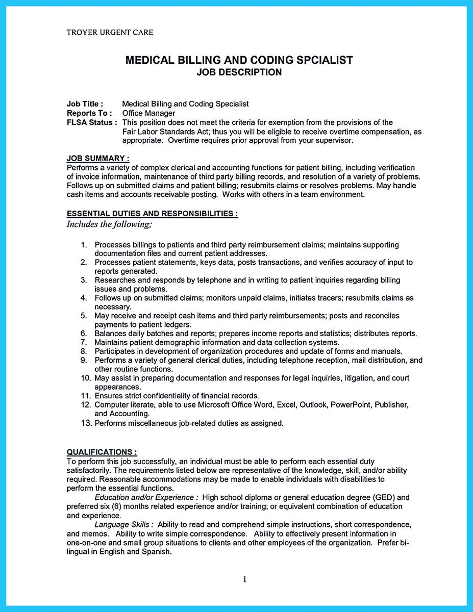 Resume For Manager Position Some People Are Trying To Get The Billing Specialist Jobif You