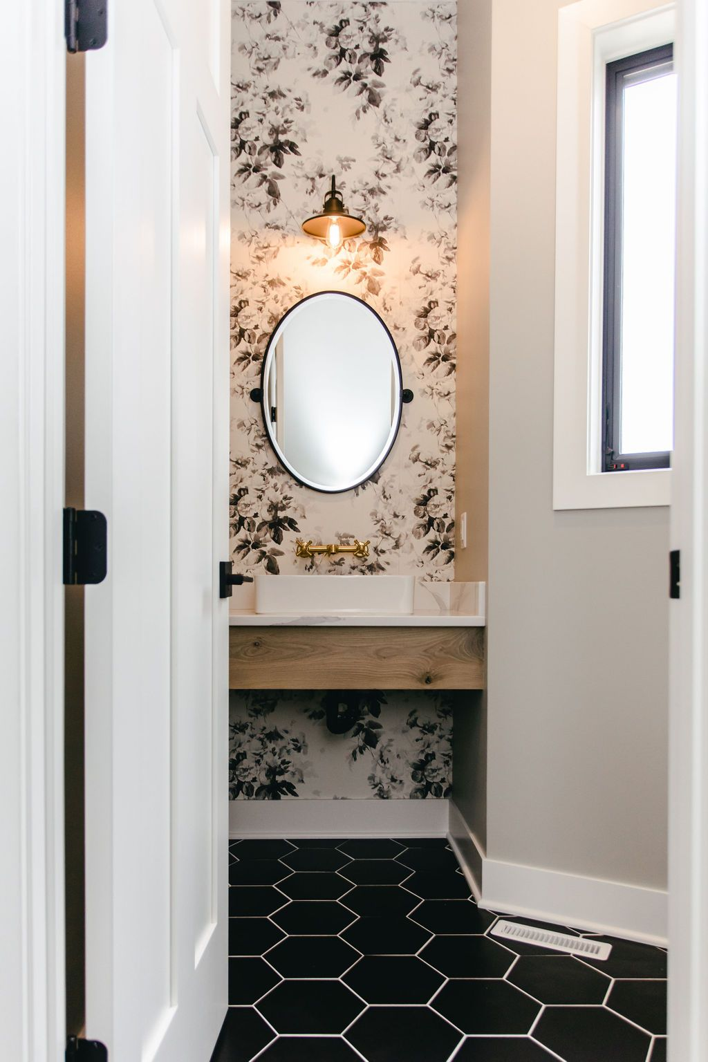 Matte Black Oval Mirror | Bathroom wallpaper, Cottage ...