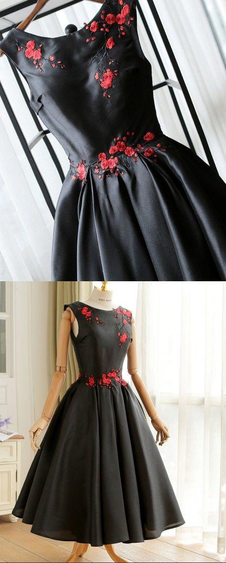 Fashion Embroidery Tea Length Black Prom Dress