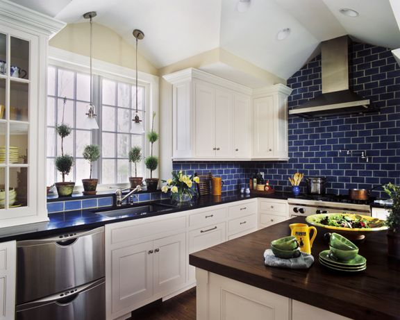 Kitchen Tiles Blue tile, cabinets, countertops, big windows, high ceilings, etc., etc