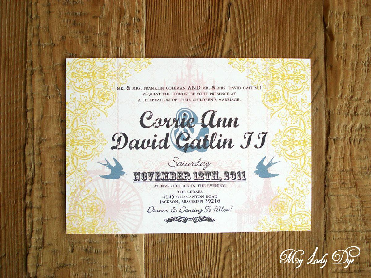 Vintage bird cage, bike & chandelier wedding invitation. The Corrie ...