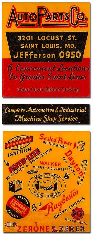 Auto Parts Co. Matchbook