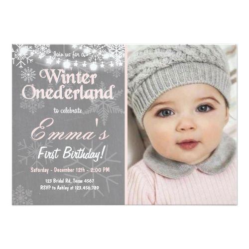 Girlu0027s 1st Birthday Party Invitations Winter Onederland birthday - invitation for 1st birthday party girl