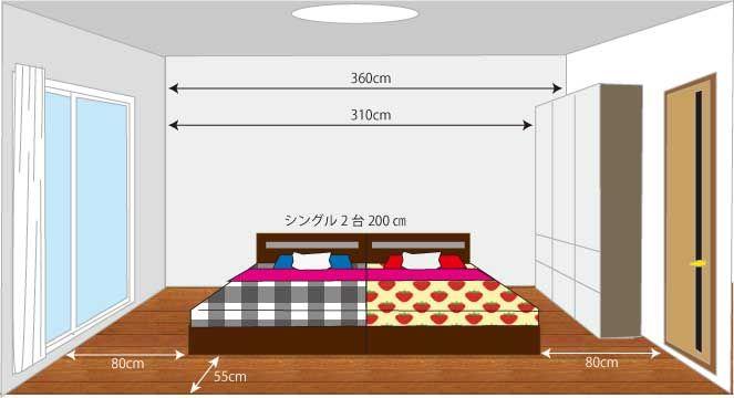 2人のベッド 6畳シングル2台のレイアウト 2021 ベッドルーム レイアウト 6畳 レイアウト 6畳