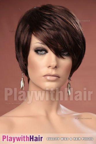 Cute Swept Pixie Style WIG Colour Choices Black Brown Blonde Auburn   eBay