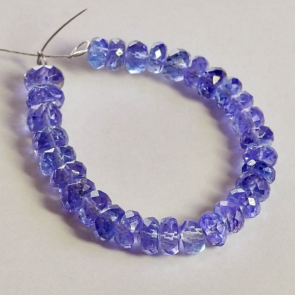 Faceted Rondelle Tanzanite: 3.5MM-4.2MM Tanzanite Faceted Rondelle Beads (30