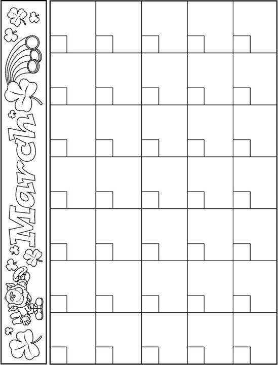 March calendar template Projects to Try Preschool calendar