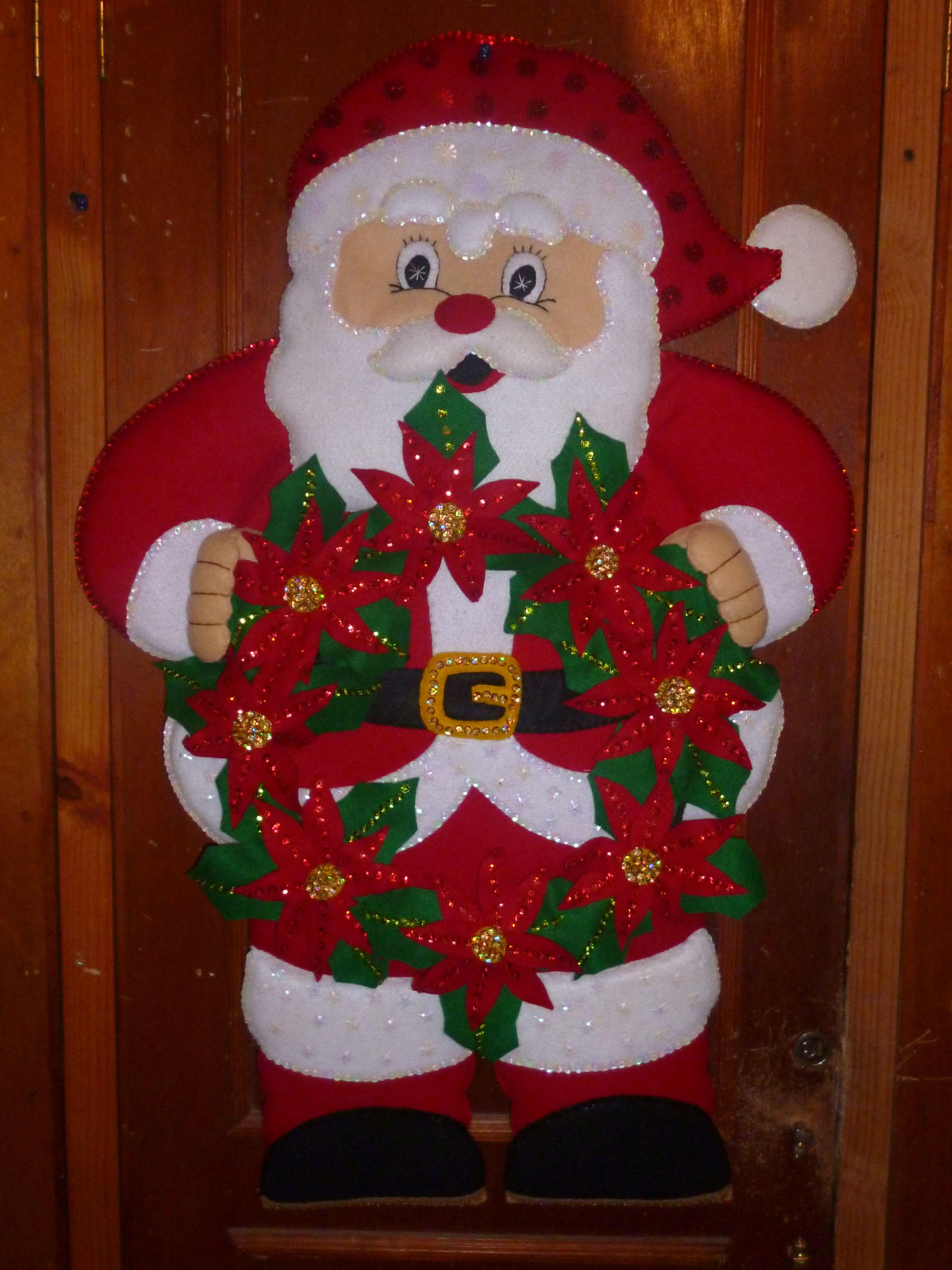 587 santa con corona de pascuas navide os pinterest - Coronas de navidad ...