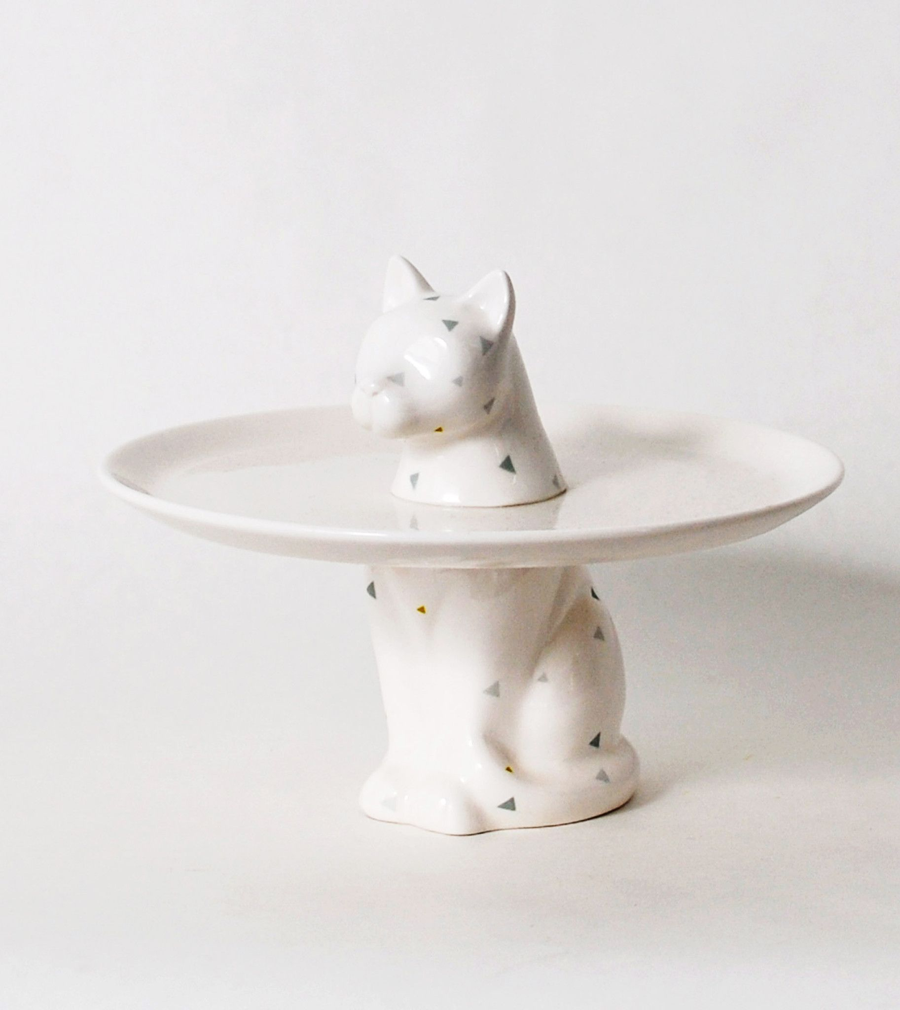 Cute Cat Pedestal Cake Plate - Footed Cake Plate -