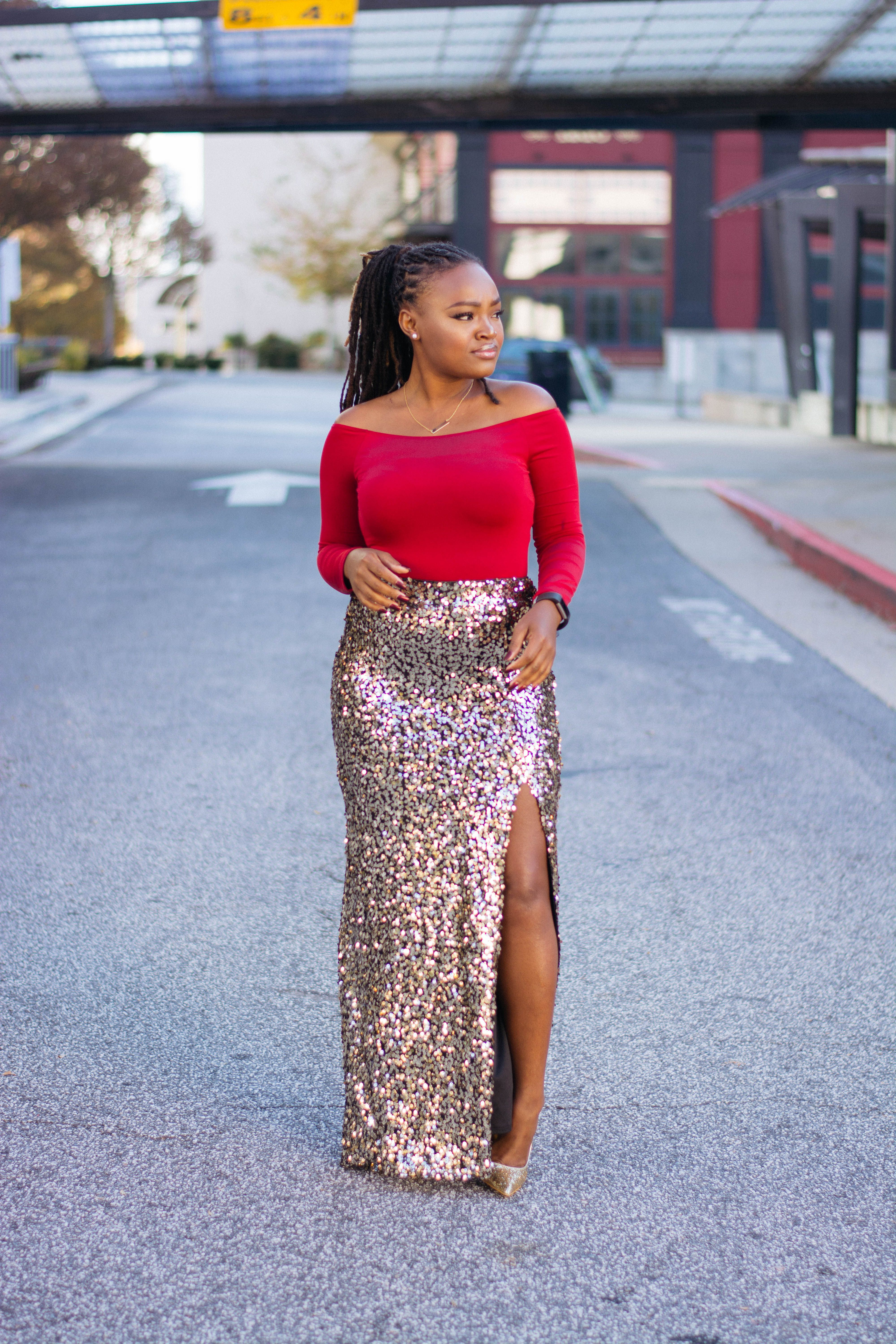ba584f937 OFF THE SHOULDER RED BODYSUIT X SEQUIN MAXI SKIRT | On The Blog ...