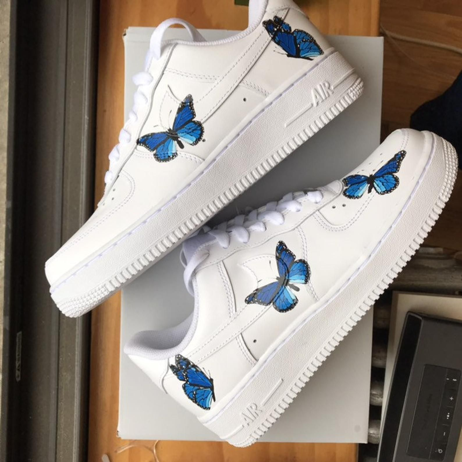 Custom Air Force 1 Nike Butterfly Shoes Customs Shoes image ...