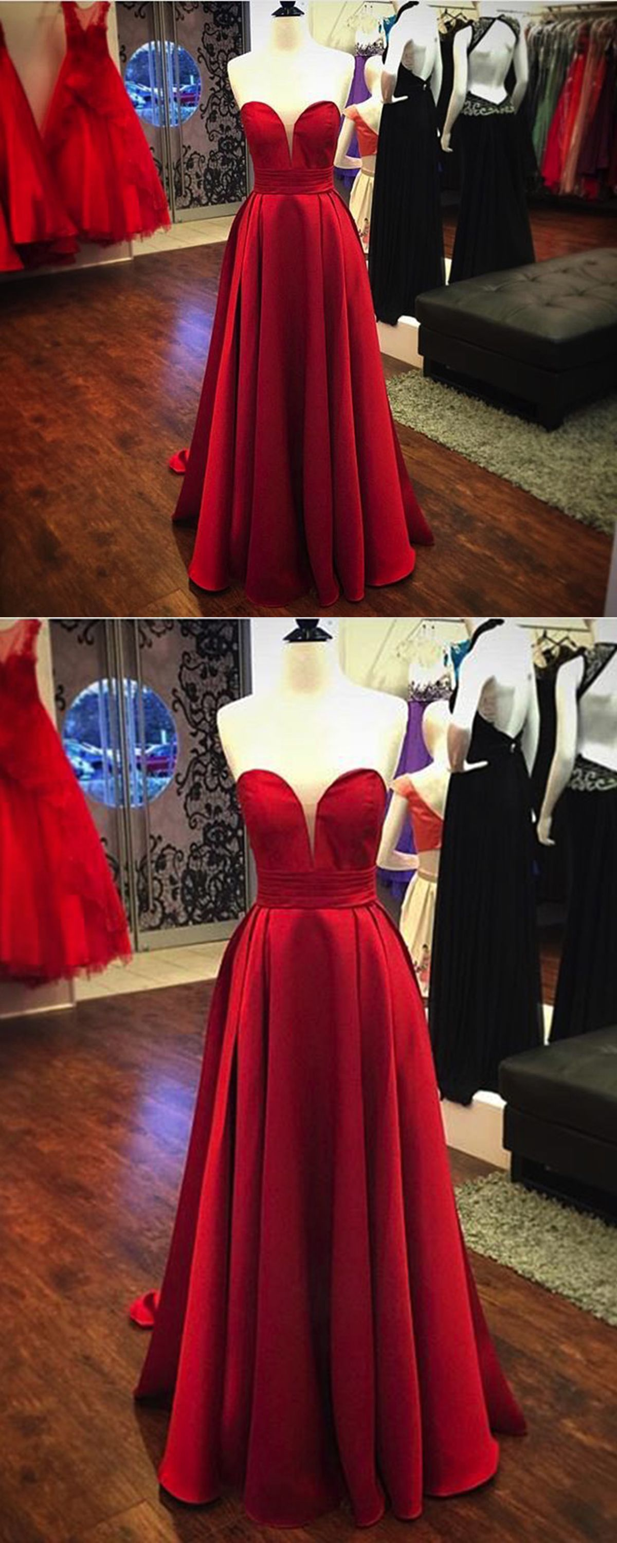 Strapless red satin customize long lace up bridesmaid dresses long