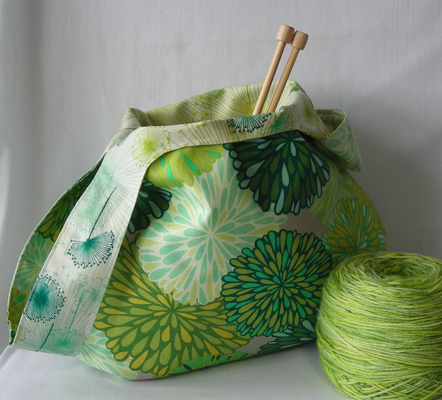 Project bag - medium size japanese knot bag - knitting ...