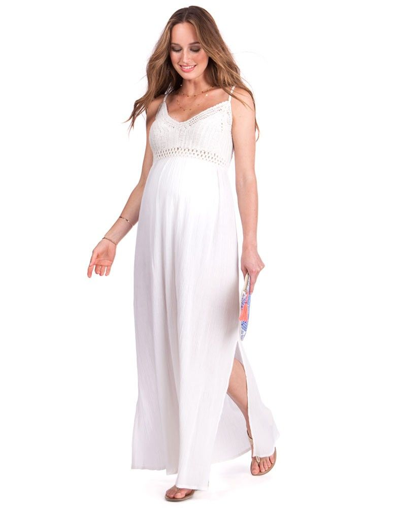 ab04e8e934 White Crochet Top Maternity Maxi Dress in 2019 | pregnancy outfit ...