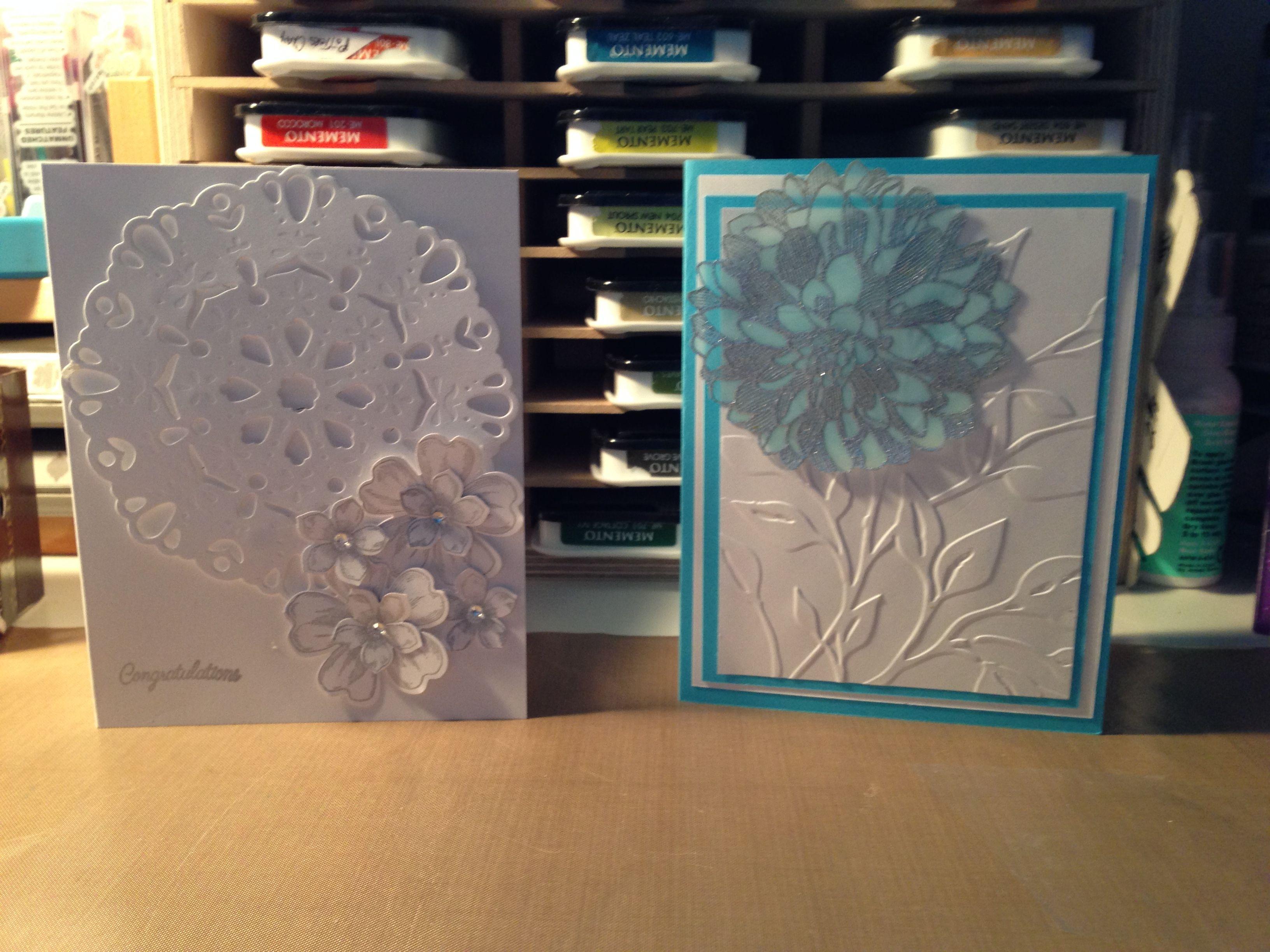Cards made with SU darling doily and regarding dahlias