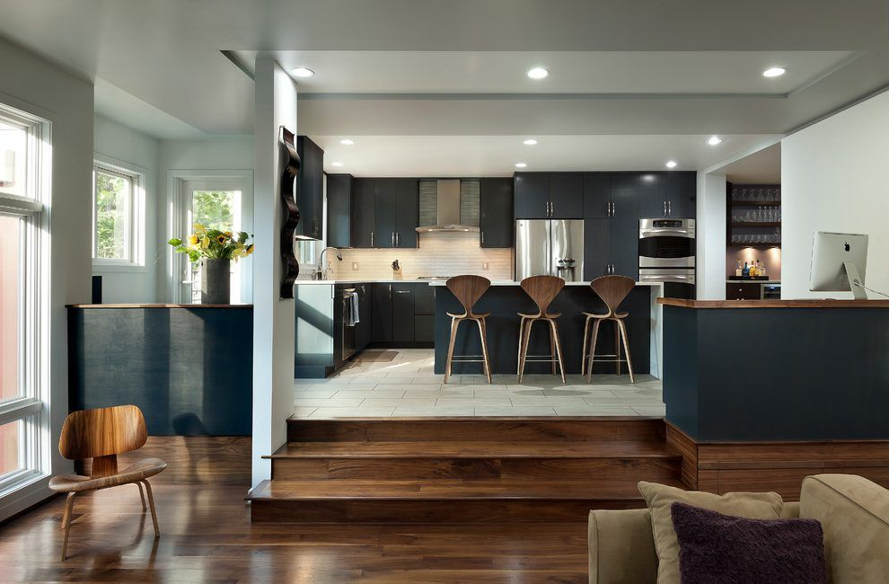 Sunken Kitchen Contemporary With Step Down Living