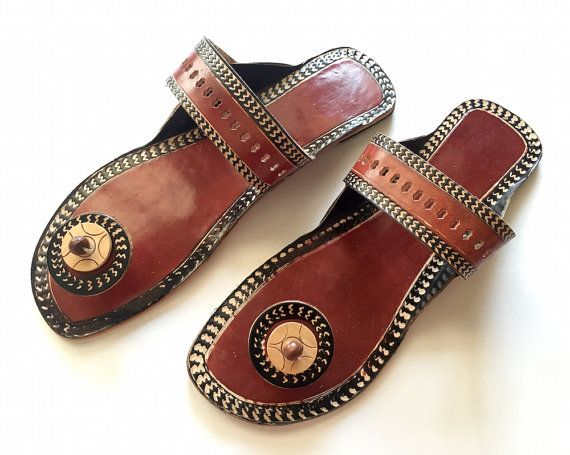 f92be5d50d5d6 Brown Indian Slippers Handmade Ethnic Designer Women Sandals ...