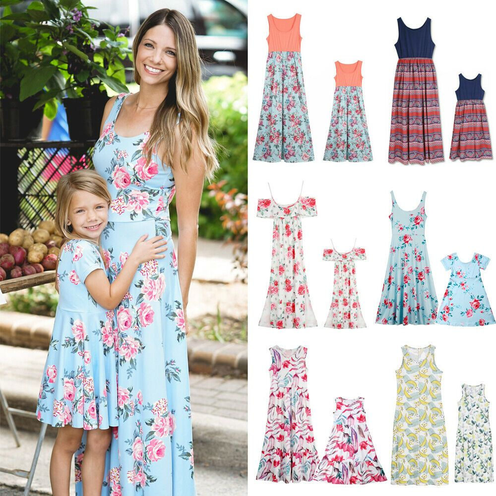 Mother Daughter Family Matching Dress Mommy and Me Floral Maxi Dresses Outfits