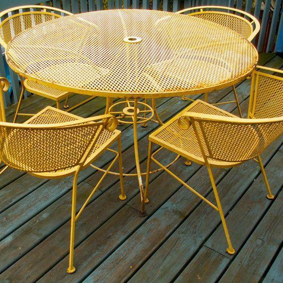 vintage yellow wrought iron patio