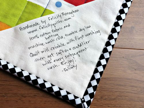 Here's the label, giving the care instructions for the quilt. A ... : handmade quilt labels - Adamdwight.com