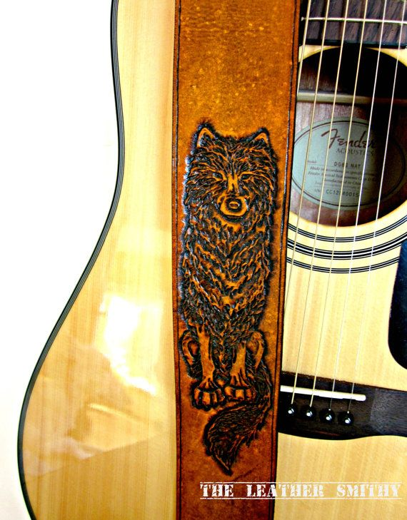 Alpha Wolf Leather Guitar Strap Adjustable Electric Or Etsy Leather Guitar Straps Guitar Strap Hand Tooled Leather